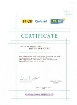 Artemyuk Oleg Dentist Certificate - Photo 7